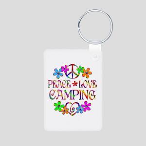Peace Love Camping Aluminum Photo Keychain