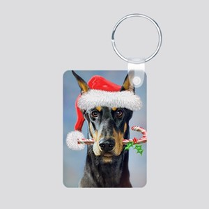Doberman Christmas Aluminum Photo Keychain