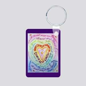Rainbow Heart Cancer Aluminum Photo Keychain