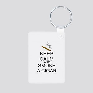 Keep Calm And Smoke A Cigar Aluminum Photo Keychai