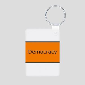 Democracy Aluminum Photo Keychain