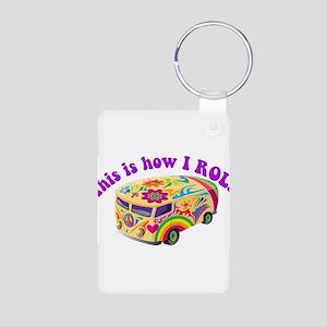 How I Roll Hippie Van Aluminum Photo Keychain