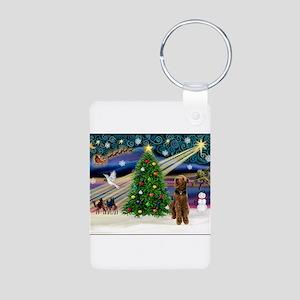Xmas Magic & Airedale (#1) Aluminum Photo Keychain