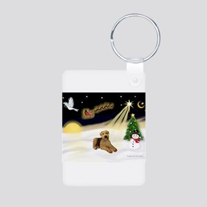 Night Flight/Airedale #5 Aluminum Photo Keychain