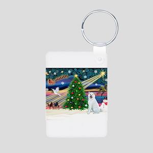 Xmas Magic & Akita Aluminum Photo Keychain