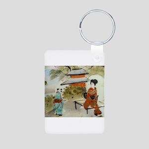 Asian art design Aluminum Photo Keychain