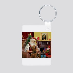 Santa and his Airedale Aluminum Photo Keychain