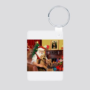 Santa's Two Airedales Aluminum Photo Keychain