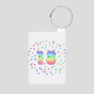 18th Birthday Pastel Stars Aluminum Photo Keychain