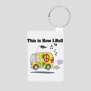 How I Roll (Hippie Bus/Van) Aluminum Photo Keychai