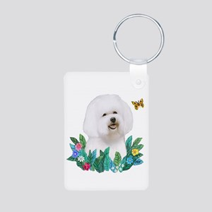 Leaves #1B - Bichon Frise Aluminum Photo Keychain
