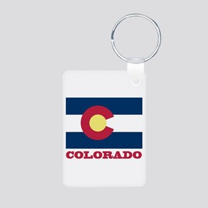 Colorado State Flag Aluminum Photo Keychain