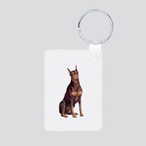 Red Doberman #1 Aluminum Photo Keychain
