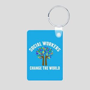 Social Work Quote Aluminum Photo Keychain