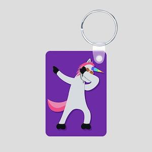Unicorn Dab Aluminum Photo Keychain
