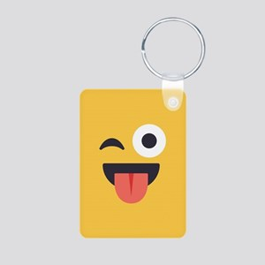 Winky Tongue Emoji Face Aluminum Photo Keychain