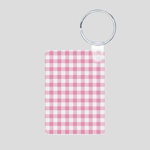Pink Gingham Pattern Aluminum Photo Keychain
