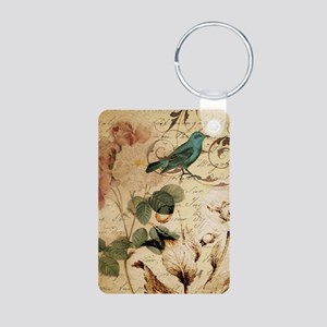teal bird vintage roses swirls bot Keychains
