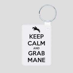 Keep Calm and Grab Mane Aluminum Photo Keychain