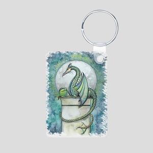 Green Dragon Fantasy Art Aluminum Photo Keychain