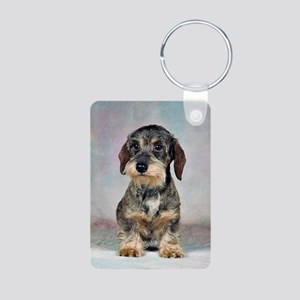 Wirehaired Dachshund Aluminum Photo Keychain