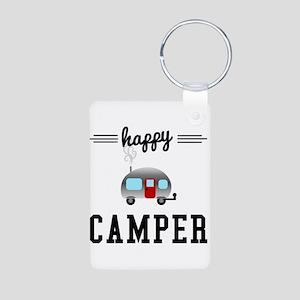 Happy Camper Aluminum Photo Keychain