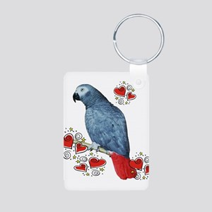 African Grey Parrot Aluminum Photo Keychain