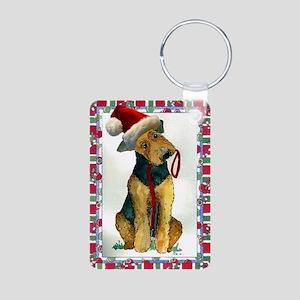 Airedale Terrier Dog Chris Aluminum Photo Keychain