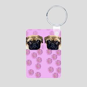 Pug Dog Aluminum Photo Keychain
