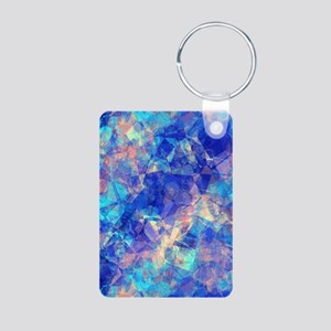 Azure Blue Crumpled Pattern Marble Keychains