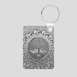 Shiny Metallic Tree of Life Yin Yang Keychains