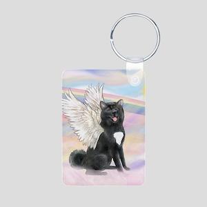 Black Akita Angel Aluminum Photo Keychain