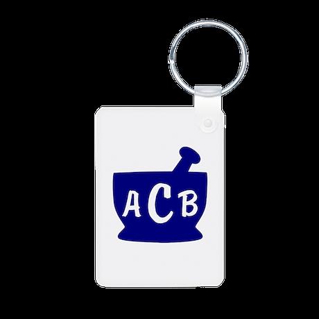 Blue Monogram Mortar and P Aluminum Photo Keychain