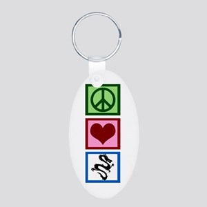 Peace Love Dragons Aluminum Oval Keychain