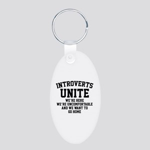 Introverts Unite Aluminum Oval Keychain