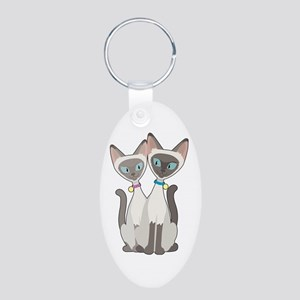Siamese Cats Aluminum Oval Keychain