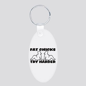 Fat Chicks Aluminum Oval Keychain