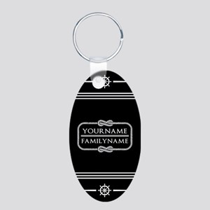 Black and White Nautical Ro Aluminum Oval Keychain