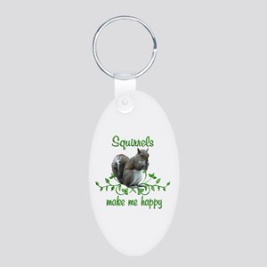 Squirrels Make Me Happy Aluminum Oval Keychain