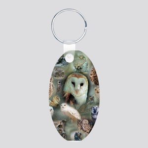 Happy Owls Aluminum Oval Keychain