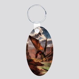 Fantasy dragon in the mountains Keychains
