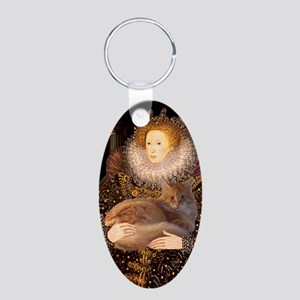 Queen - Red Maine Coon Aluminum Oval Keychain