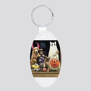 Trick Or Treats Aluminum Oval Keychain