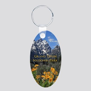 Grand Teton National Park P Aluminum Oval Keychain