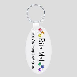 Bite Me Vet Tech Multi Pawprints Keychain