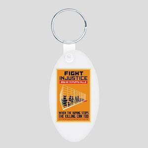 Fight Injustice Aluminum Oval Keychain