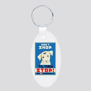 Say No To Puppy Mills Aluminum Oval Keychain