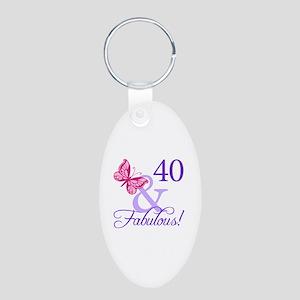 40 And Fabulous Aluminum Oval Keychain