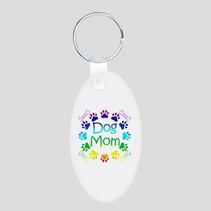 """Dog Mom"" Aluminum Oval Keychain"