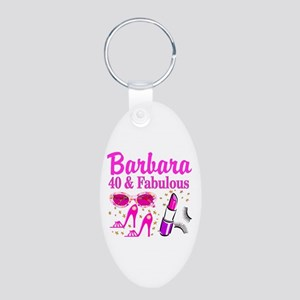 40TH PARTY GIRL Aluminum Oval Keychain